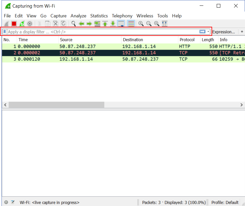 Wireshark Filter: how to apply a display filter - with screenshot
