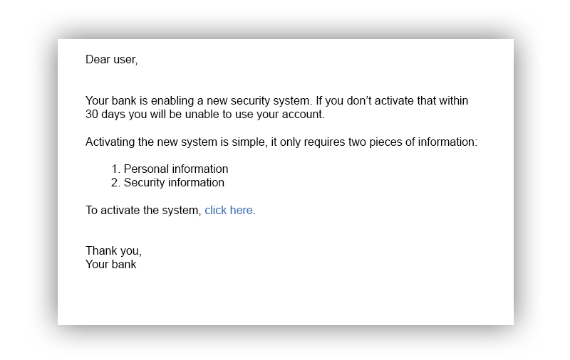 Phishing email example, the simplest approach to social engineering